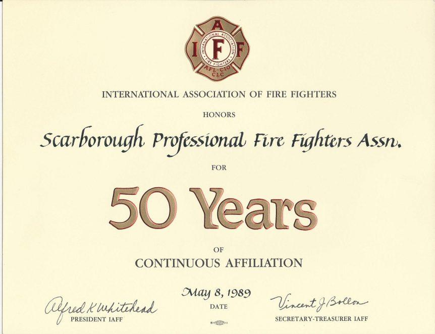 SPFFA 50 year certificate